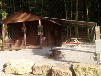 Exterior photo of our camping cabin at beavertown pa