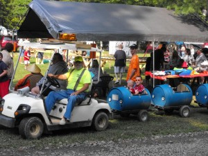 kids in oil can train at shady brook campground
