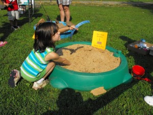 playing in the sand at shady brook campground