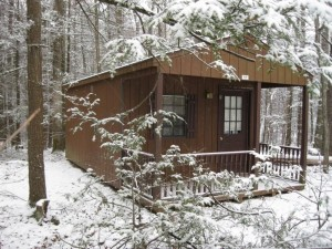 cabin in winter at shady brook campground