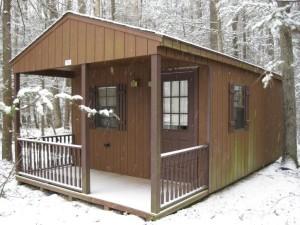 cabin in winter photo