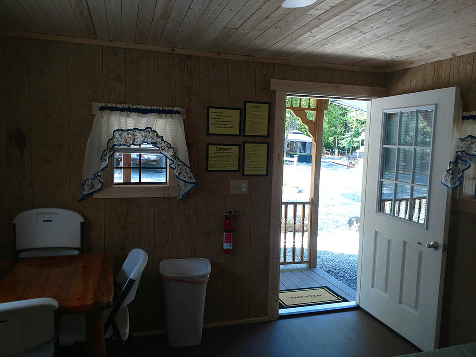 front door at cabin 212 at shady brook campground in beavertown pa