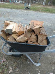 wheelbarrow of firewood